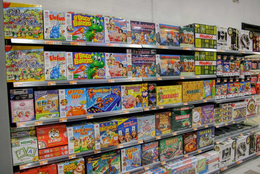 Board games in a toy store