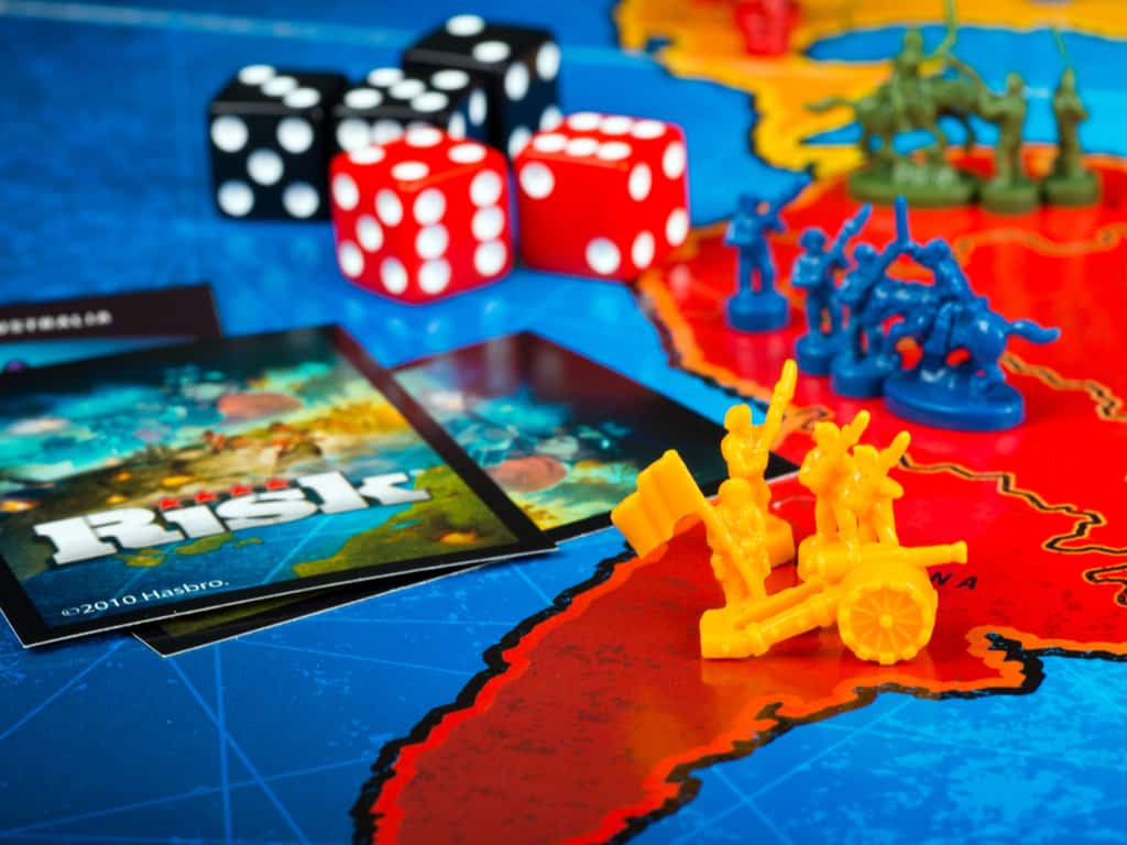 Close up of board pieces for Risk board game made by Hasbro