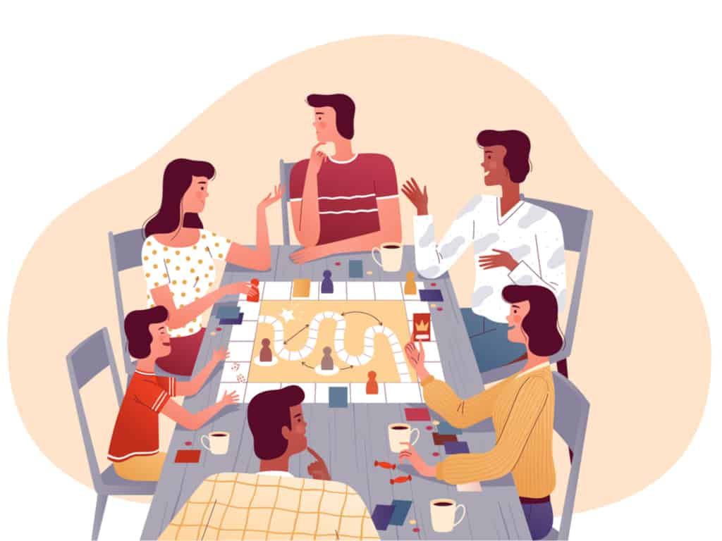 Family plays board games with friends