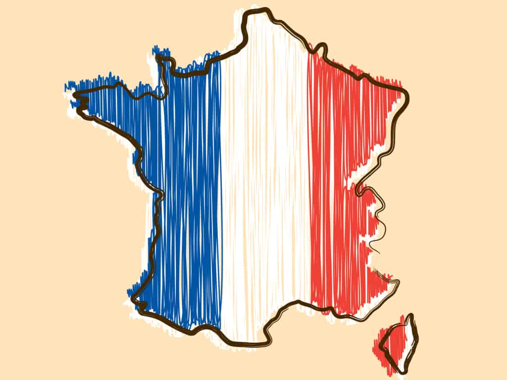 France map and flag in sketch hand drawn style