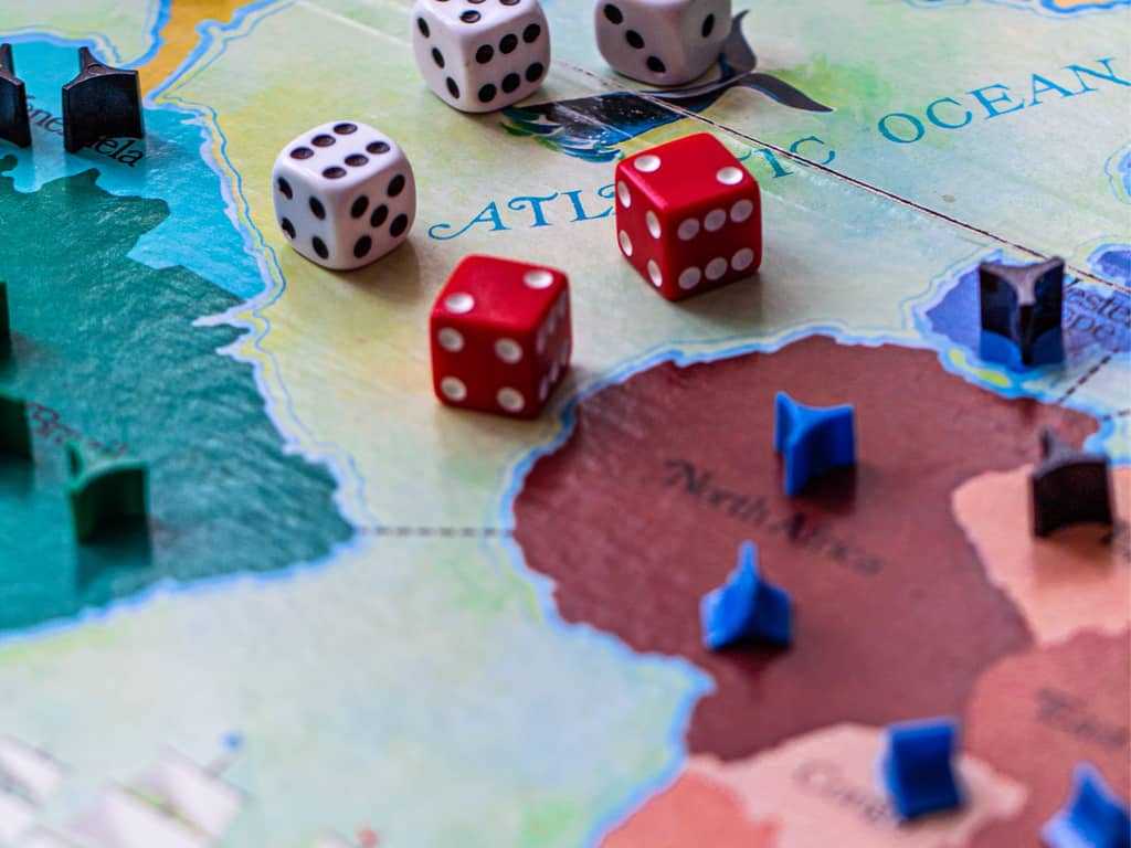 Risk board game with dices and tokens