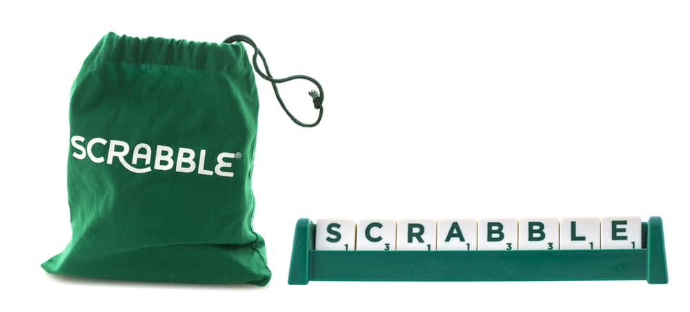 Scrabble Tile Bag with the word Scrabble on a White Background