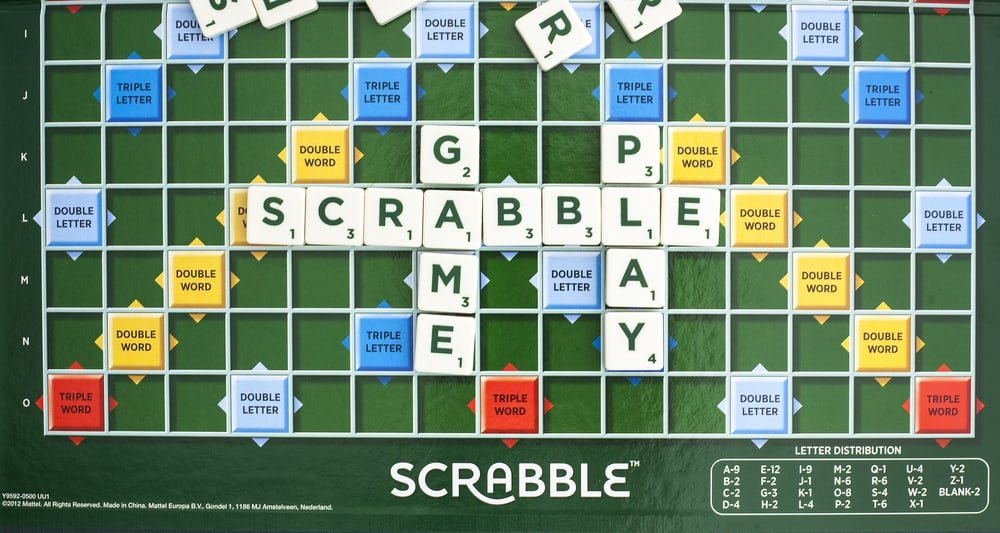 Scrabble Word Game showing the playing board