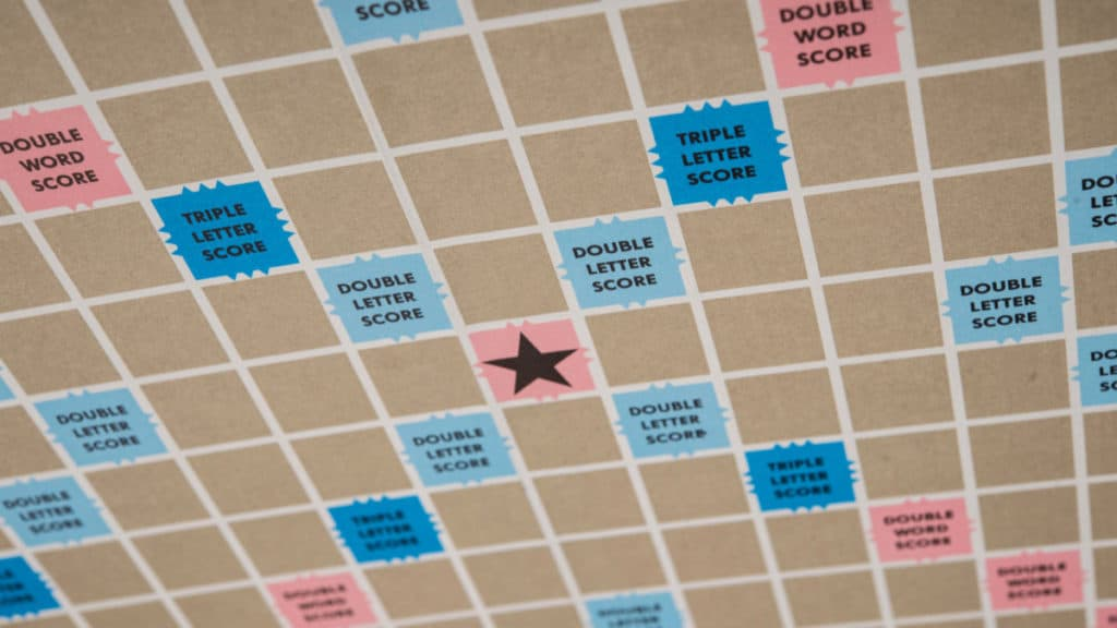 Scrabble game board - middle square in the center