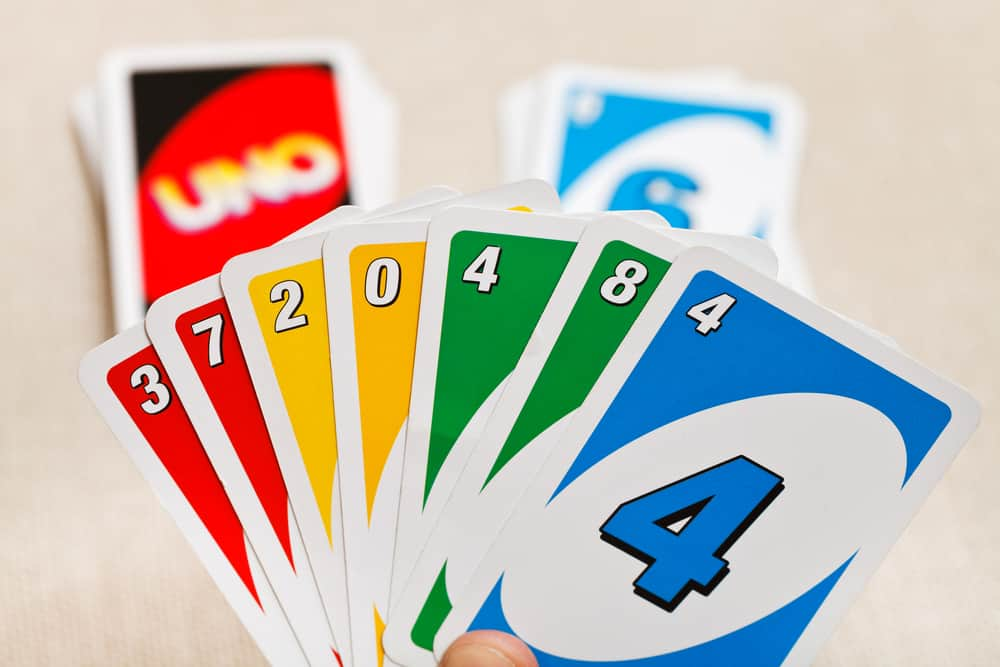 Uno card game in player hand